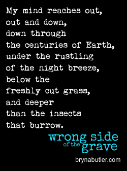 My mind reaches out, out and down, down through the centuries of Earth, under the rustling of the night breeze, below the freshly cut grass, and deeper than the insects that burrow.