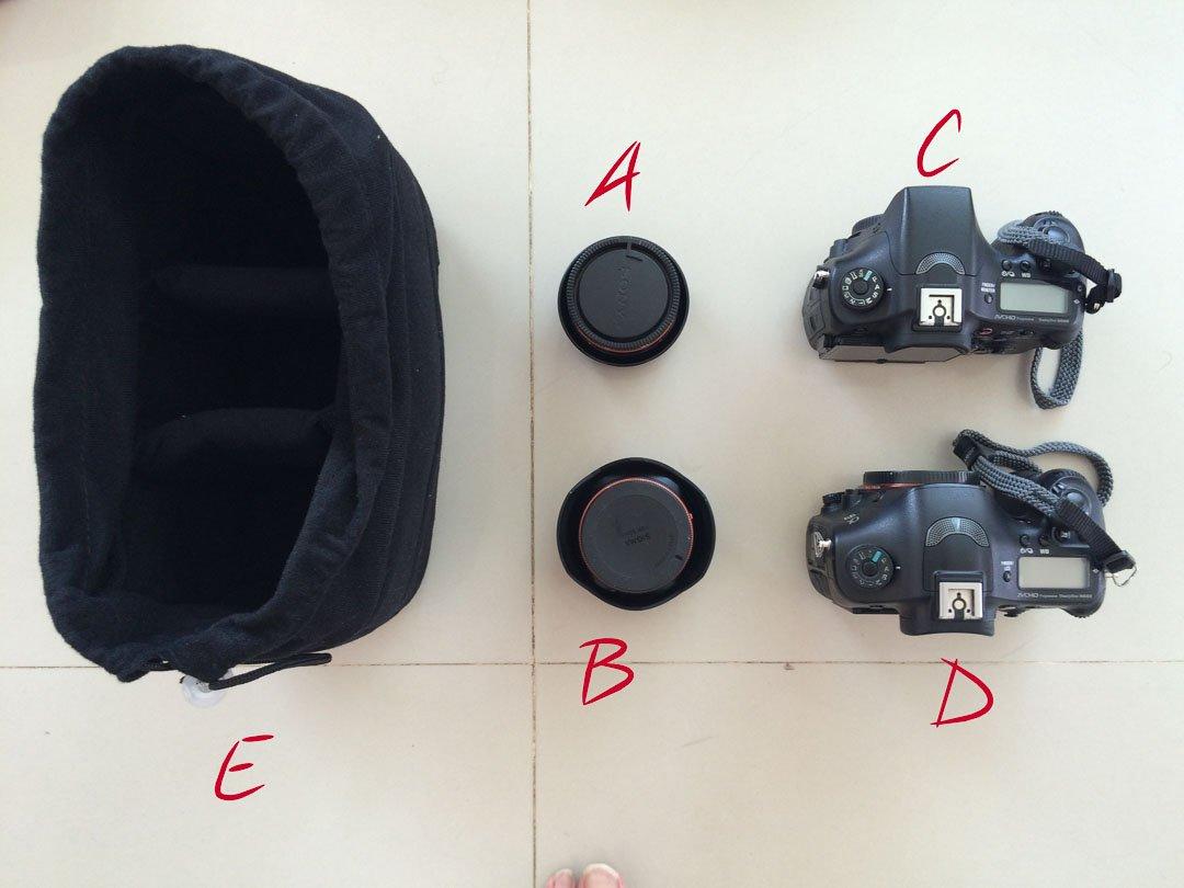 Koolerton padded camera insert bag with cameras