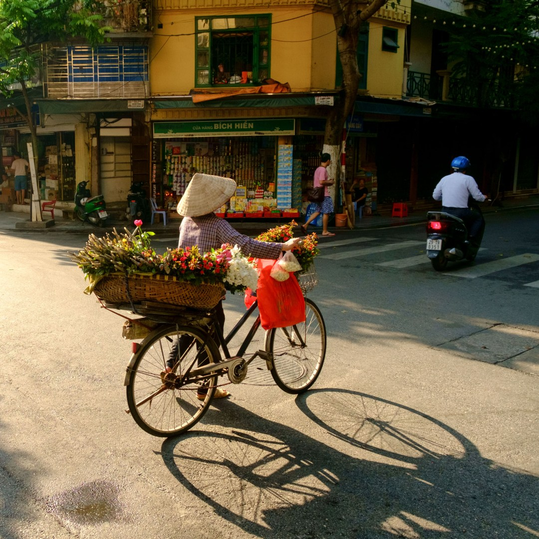 Flower vendor pushing her bicycle across the street - Old French Quarter, Hanoi, Vietnam