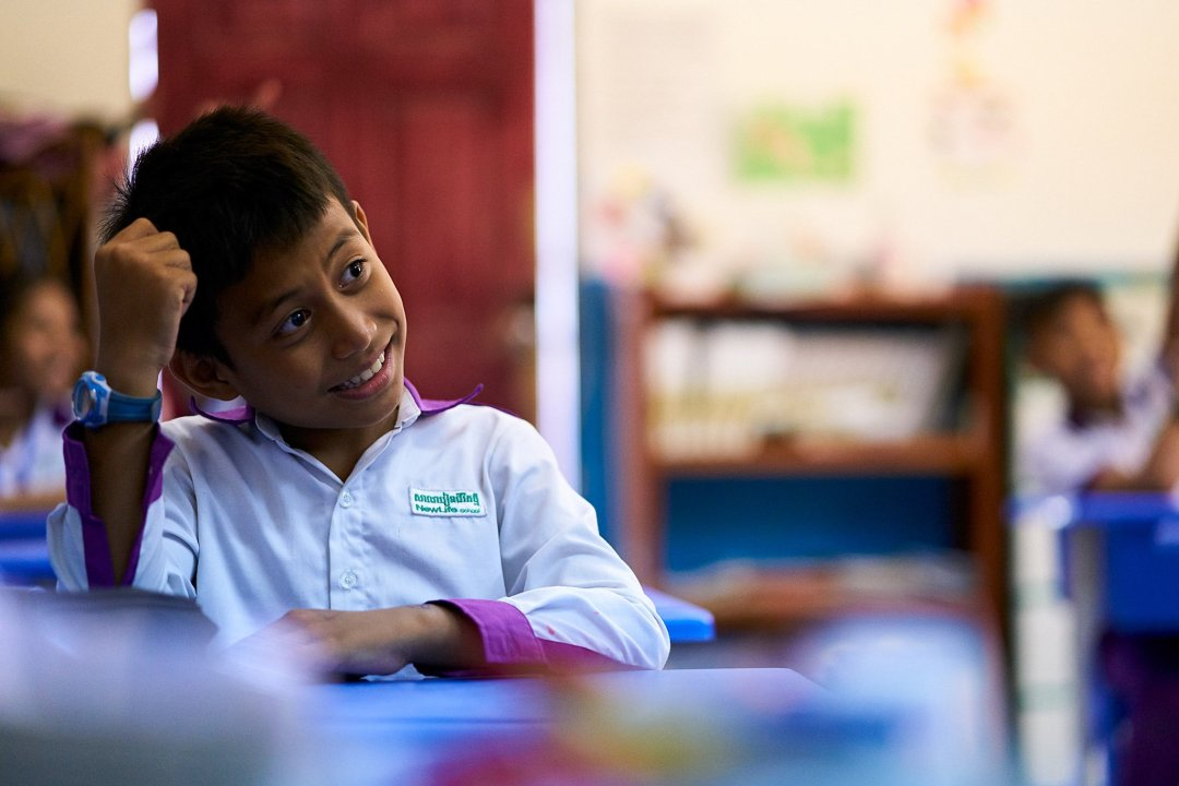 photo of a student in class at New Life School in Phnom Penh, Cambodia