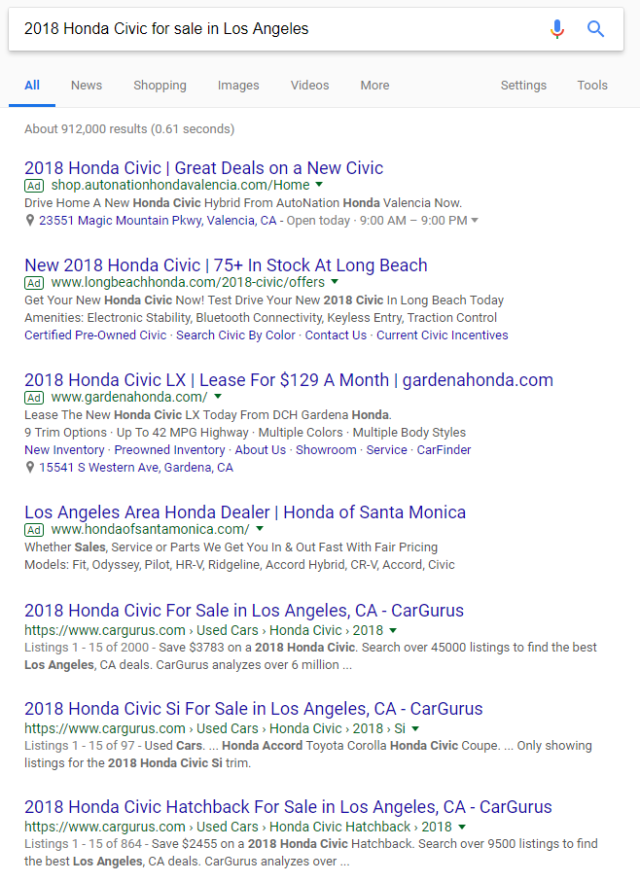 """Long tail Google search for """"2018 Honda Civic for sale in Los Angeles"""""""