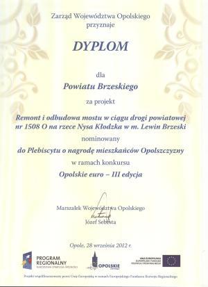 Dyplom dla Powiatu Brzeskiego