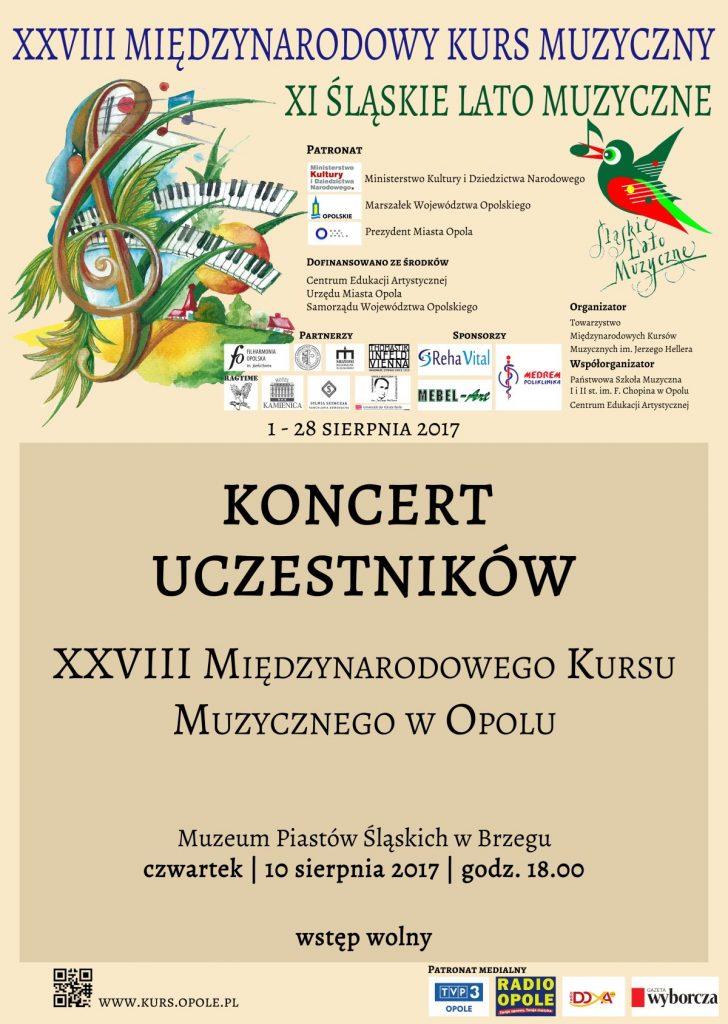 Koncert Uczestników XXVIII Międzynarodowego Kursu Muzycznego XI Śląskie Lato Muzyczne