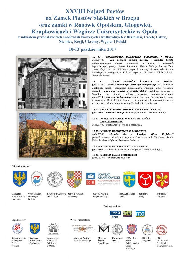 XXVIII Najazd Poetów na Zamek Piastów Śląskich w Brzegu