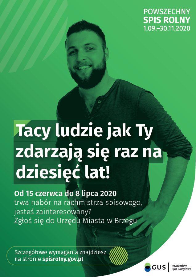 Rachmistrz Og Oszenie Plakat 1 - Nabór Kandydatów Na Rachmistrzów Terenowych Do Powszechnego Spisu Rolnego W 2020 R.