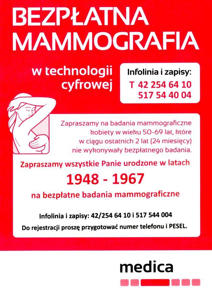 Bezpłatna mammografia - plakat