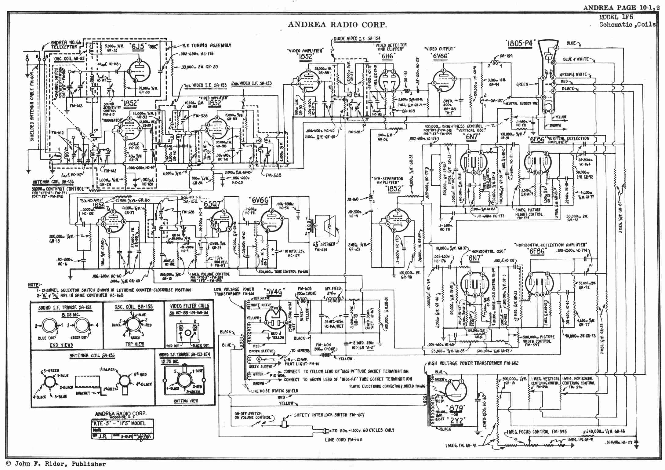 tv tuner card circuit diagram typical refinery process documentation andrea 1f5 television receiver 1939
