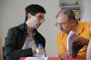 Sandro übersetzt für unseren Gast Claudio Bossi