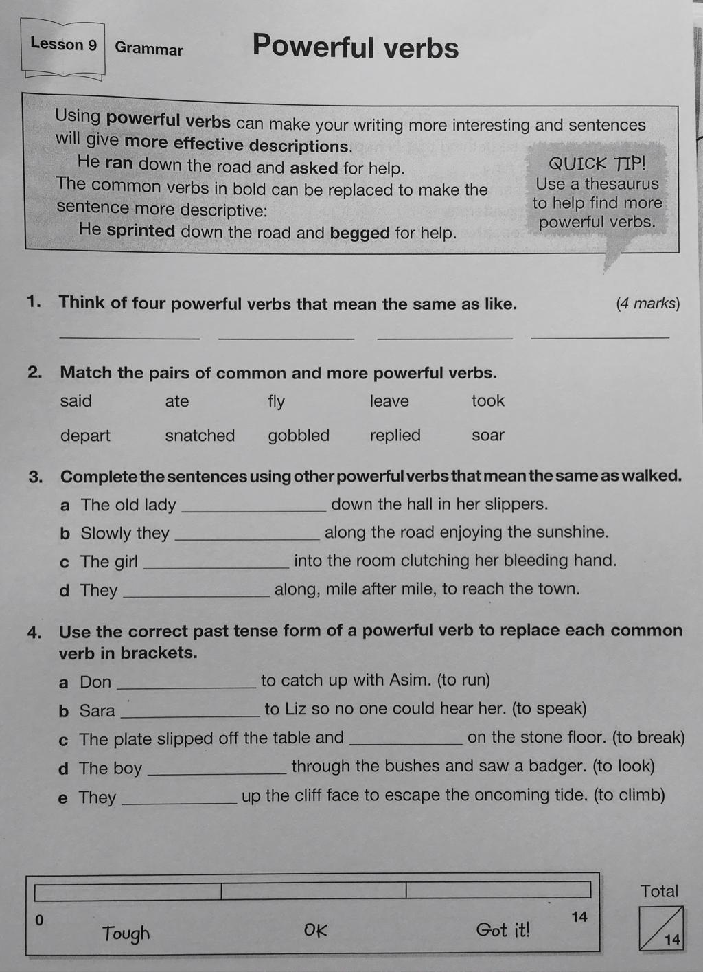 hight resolution of Powerful Verbs - English Homework - BSAK Year 4