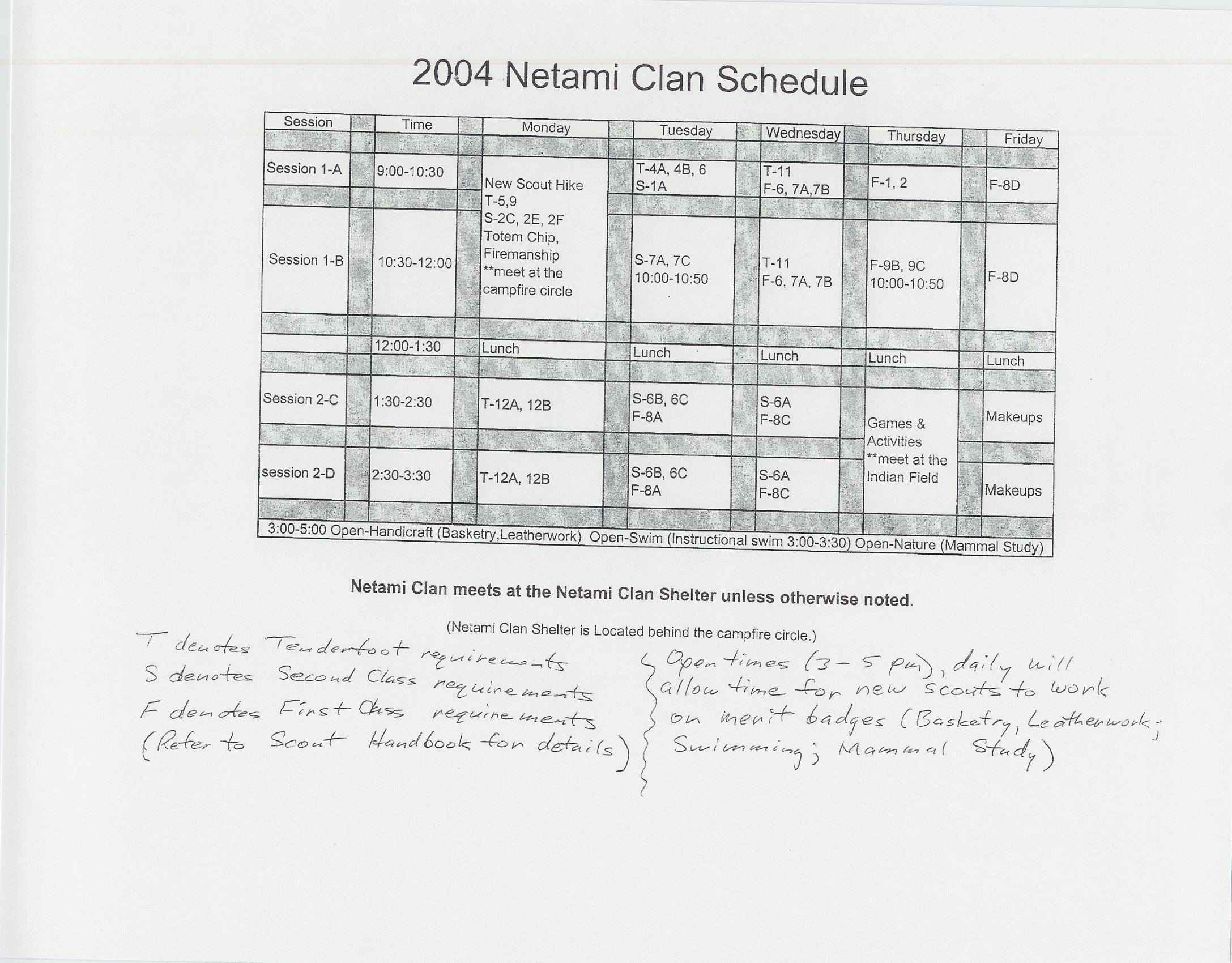 Seven Mountains Summer Camp 2004 New Scout (Netami Clan