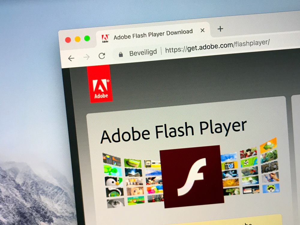 Get Adobe Flash Player web page in Google Chrome browser window on Mac OS X