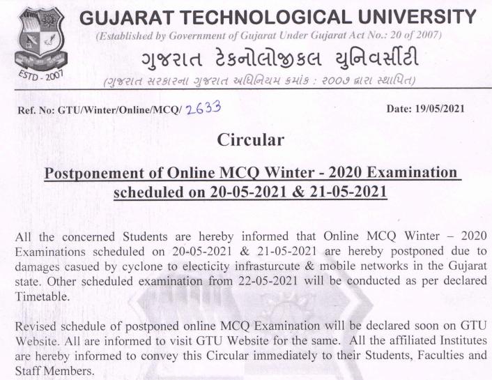 GTU Exam Time Table 2021 Winter