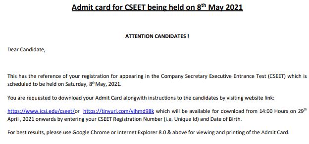ICSI CSEET May Admit Card 2021