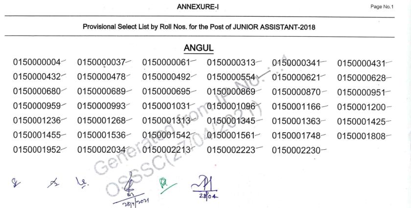 OSSSC Junior Assistant Result 2021