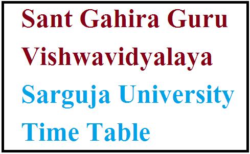 Sarguja University Time Table 2021