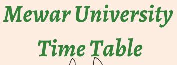 mewar university time table 2021