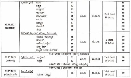 SSLC Exam New Time Table 2021