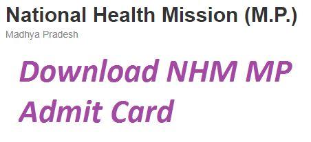 MP NHM CHO Admit Card 2021