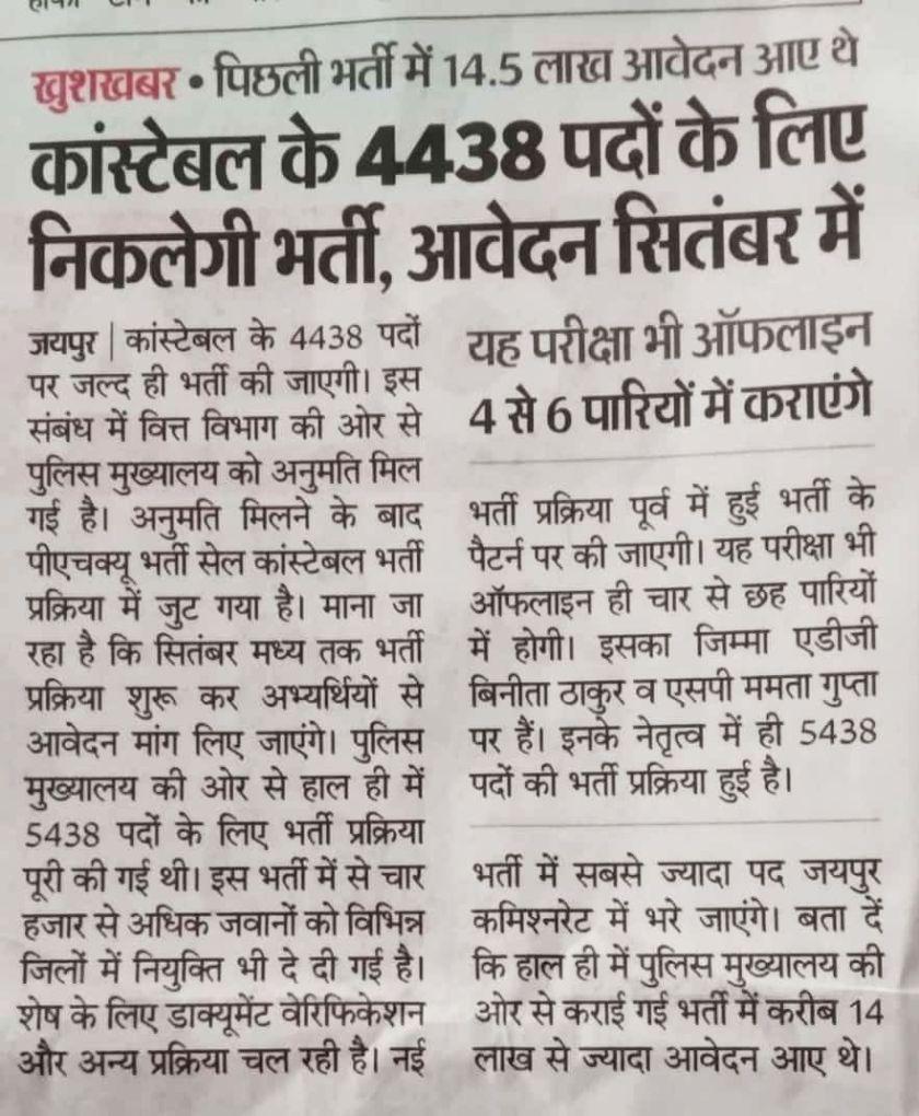 Rajasthan Police Bharti 2021 Syllabus