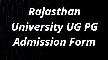Rajasthan University Admission Form 2021-22