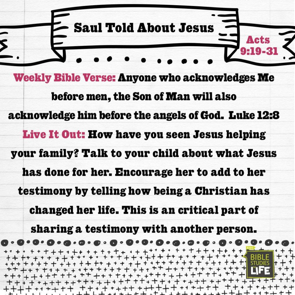 Week of June 11—Saul Told About Jesus—Social Media Plan