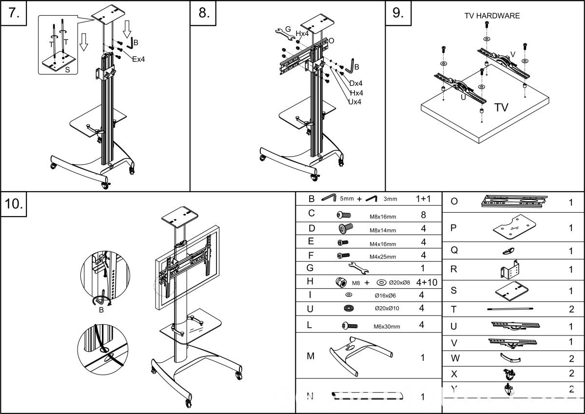 China TV-Ständer mit Rädern für Display bis zu 65 Zoll