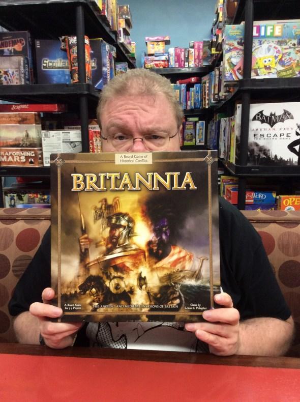 Andrew holding the Britannia box.