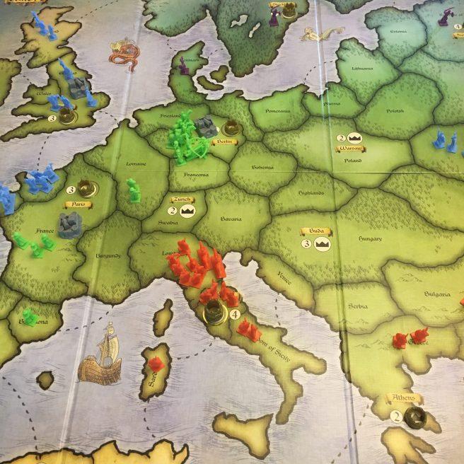 Turn 4 - Green overruns purple's territory