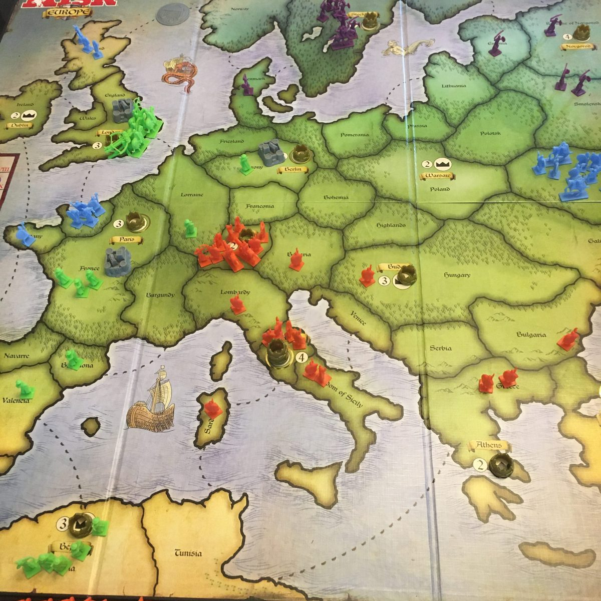 Turn 5 - Green takes UK, Red goes North, Purple just chillin'