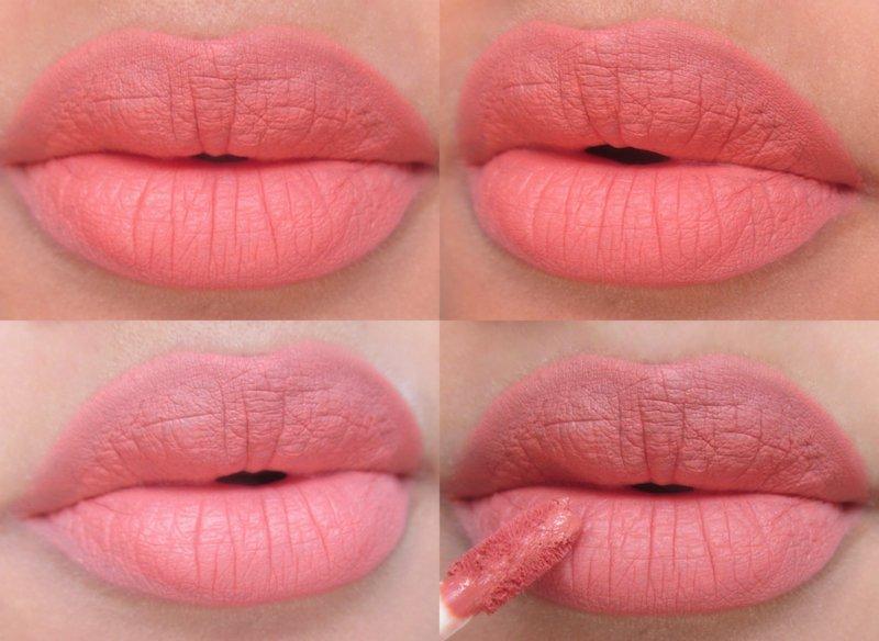 Lakme Absolute Matte Melt Liquid Lip Color Peach Rose on lips