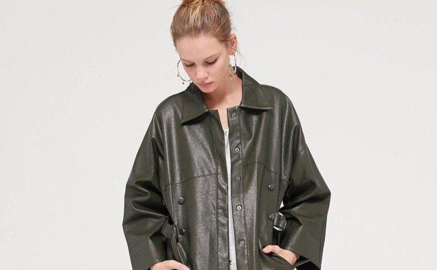 Even Vintage Faux Leather Belted Jacket landscape cropped