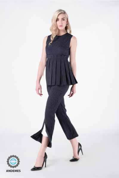 andemes blouse w navy blue trousers