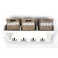 White Wicker Storage Unit With 3 Baskets And Coat Hook ...