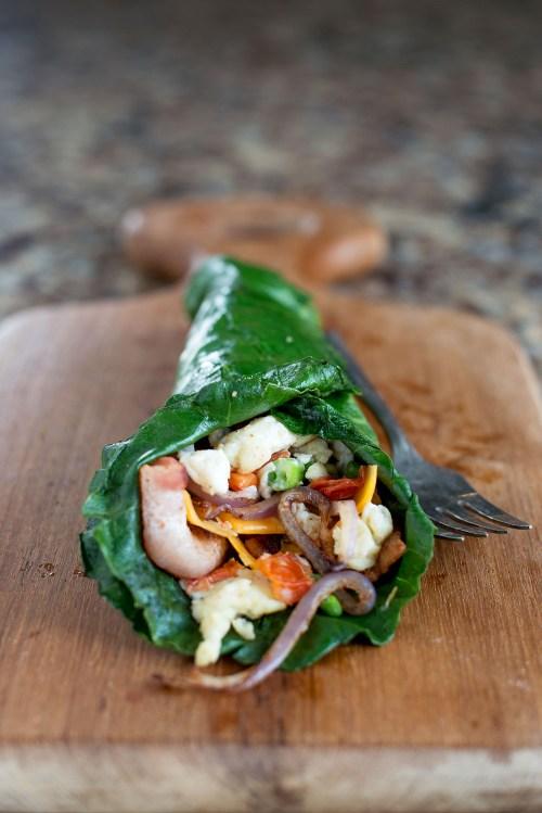 Collard Green Scrambled Egg Wrap | bsinthekitchen.com #breakfast #healthy #bsinthekitchen