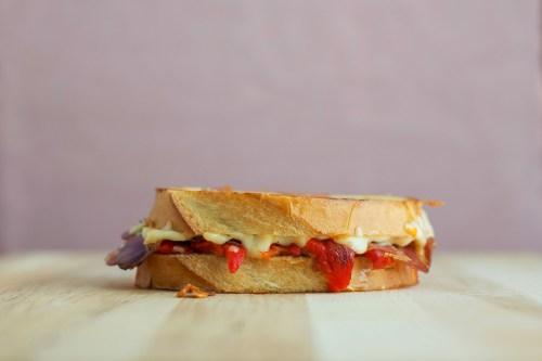 Roasted Red Pepper, Capocollo & Gouda Grilled Cheese | bsinthekitchen.com #grilledcheese #sandwich #bsinthekitchen