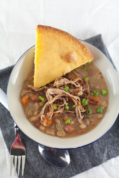 Slow Cooker Pork & Beans from www.bsinthekitchen.com | #pork #beans #slowcooker