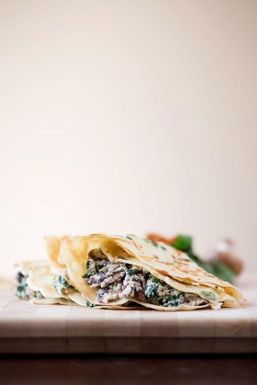 Green Onion Parmesan Crepes with Ricotta, Spinach, Bacon & Mushroom Filling | bsinthekitchen.com #crepes #breakfast #bsinthekitchen