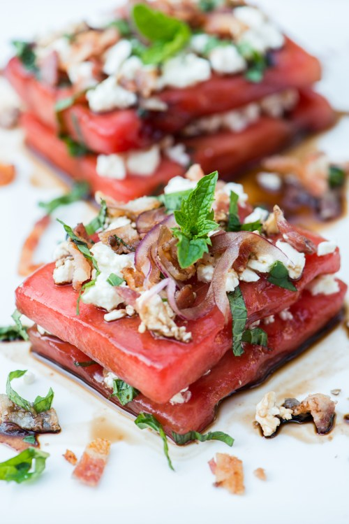 Savoury Watermelon Salad | bsinthekitchen.com #salad #fruit #bsinthekitchen