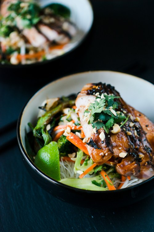 Asian Brined Pork with Vermicelli Noodle Salad | bsinthekitchen.com #bsinthekitchen #asian #pork