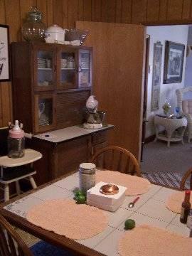 kitchen and Hoosier cabinet