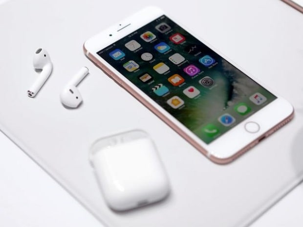 The Apple iPhone7 and AirPods are displayed during an Apple media event in San Francisco, California