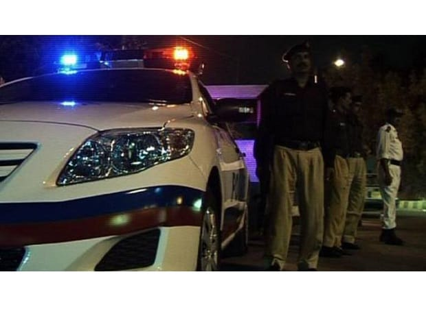 Police take stock of situation in a location in Karachi