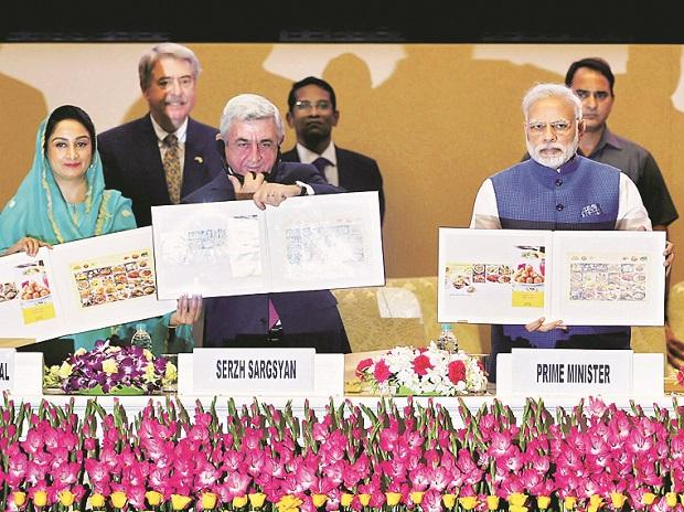 Prime Minister Narendra Modi with (from left) Union Minister for Food Processing Industries Harsimrat Kaur Badal and Armenian President Serzh Sargsyan at the World Food India 2017 inaugural session in New Delhi on Friday. Photo: PTI