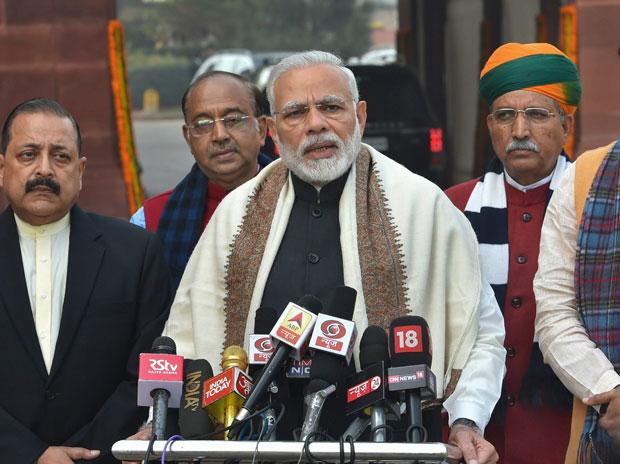 PM Narendra Modi, along with Parliamentary Affairs Minister Ananth Kumar, Ministers of State Jitendra Singh and Arjun Ram Meghwal, addresses the media on the first day of the budget session of Parliament, in New Delhi
