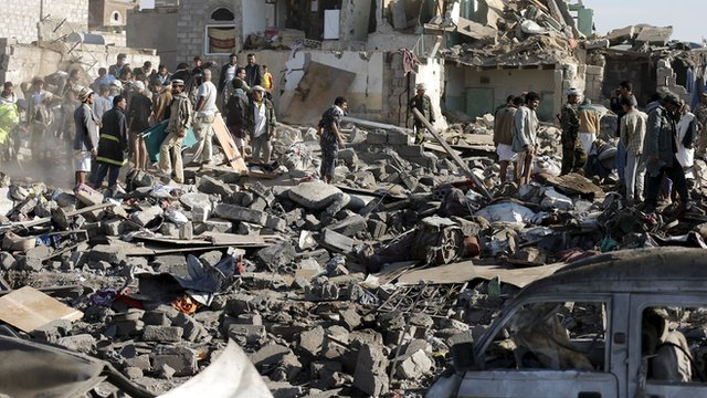 Saudi Arabian bombs kill Yemeni civilians.