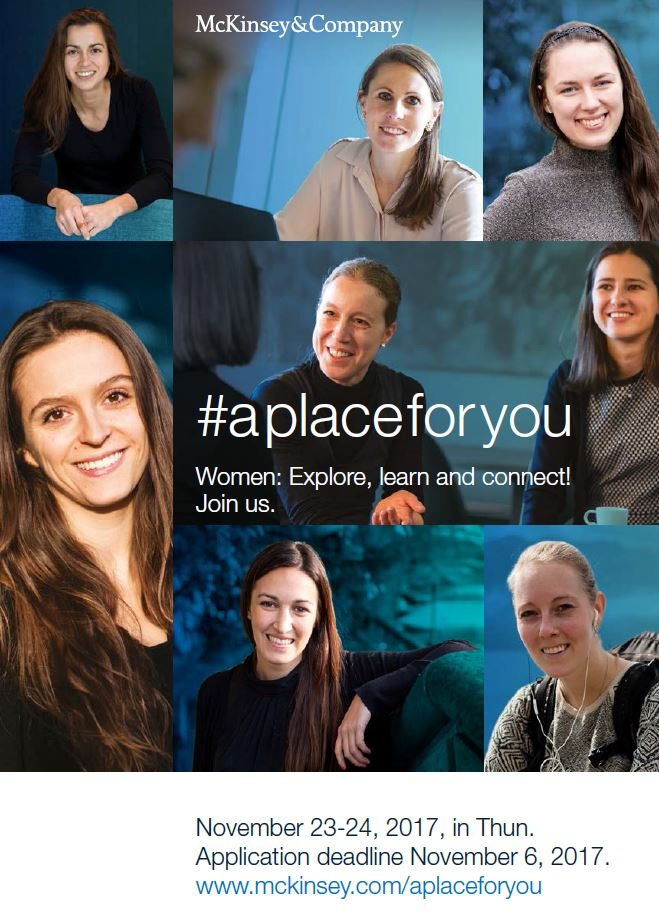 "BSNL Recommends: ""#aplaceforyou – McKinsey"". November 23/24, Thun."