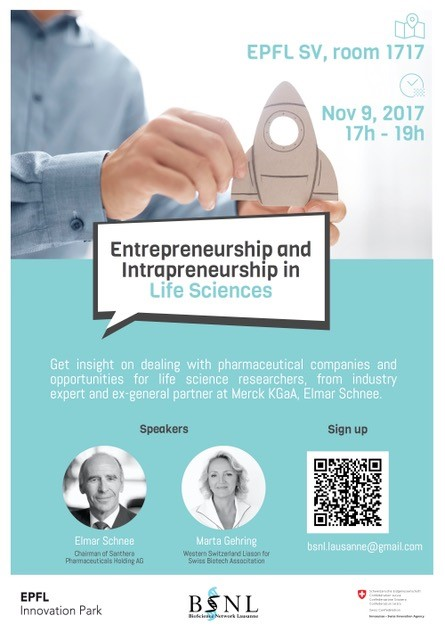Register! Talks on Entrepreneurship and Intrapreneurship in Life Science, November 9th, EPFL SV1717