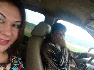 Still riding shot gun with mom... Her always on the phone, usually helping the person on the other end.