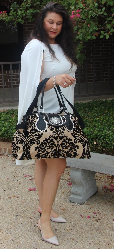 white dress purse