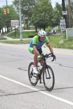 Cleve Christoph, one of four riders for the Cyclists for Children team from Germany. [https://www.radeln-fuer-kinder.de/] Thursday, June 20, 2019 Race Across America passing through Bloomington, Indiana (Dave Askins/Beacon)